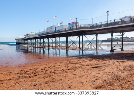Summers day at Paignton Beach and pier Devon England UK Europe