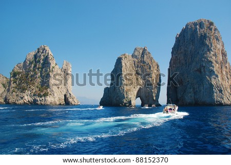 Summertime at Capri, Famous Faraglioni - stock photo