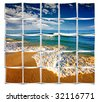 summertime at the beach. collage from small pics. - stock photo