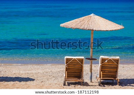 Summertime at the beach. Greece. Rhodes. - stock photo
