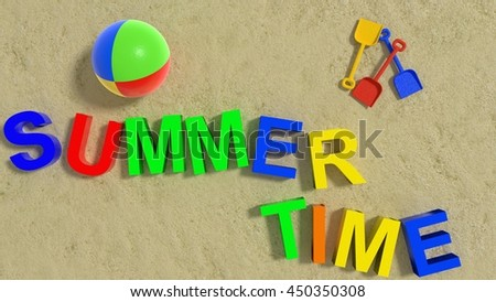Summertime concept on sandy beach 3D rendering