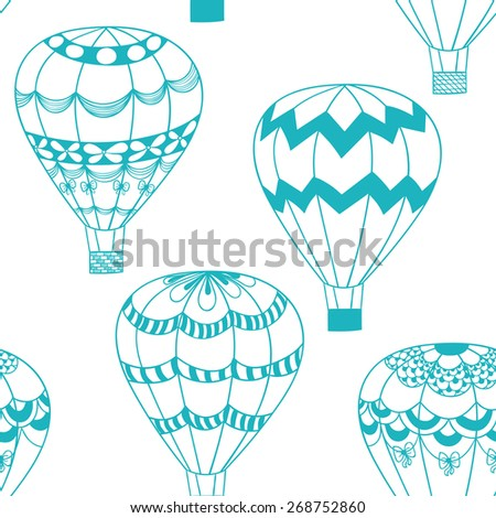 Summertime concept seamless pattern in doodle style. Blue hot air balloons zentangle stilezed background  - stock photo
