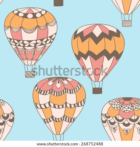 Summertime concept seamless pattern in doodle style. Cute hot air balloons background - stock photo