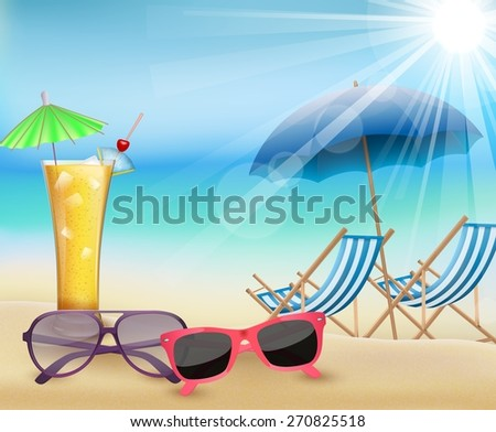 Summertime  in beach - stock photo