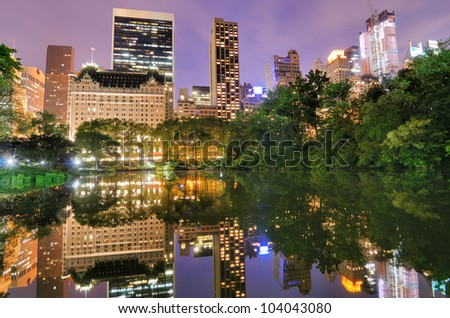Summertime in New York City's Central Park at night - stock photo