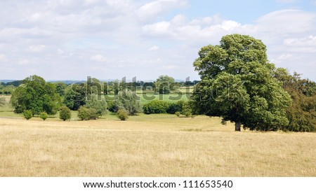 Summertime Landscape View of an Open Field in Rural England - stock photo