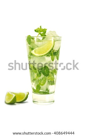Summertime. Long drink. Mojito. A refreshing drink. Isolated on white background. Vintage