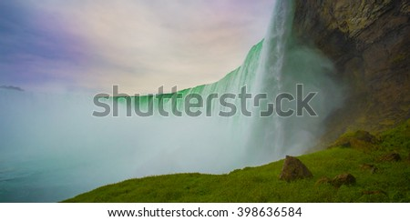 Summertime View of Niagara Falls from Ontario Canada Side - stock photo