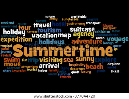 Summertime word cloud concept on black background.