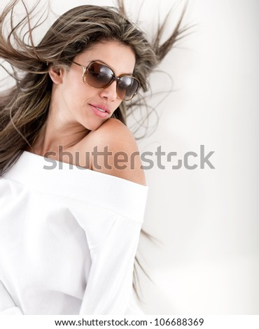 Summery woman wearing with sunglasses - isolated over white