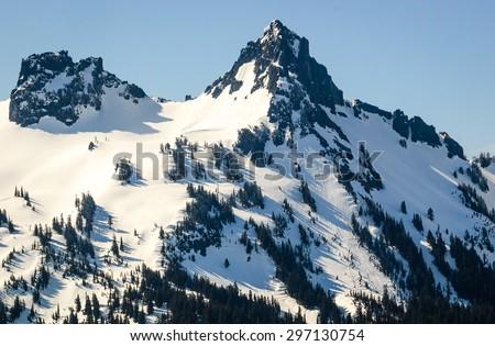 Summit at Mount Rainier National Park - stock photo