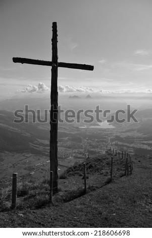 Summit cross on the Rigi - stock photo