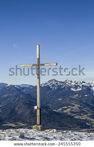 summit cross on the Schoenberg near Lenggries