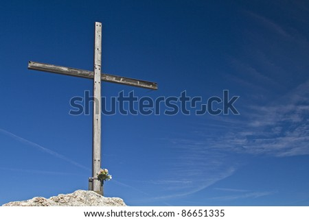 Summit cross on the stone witch