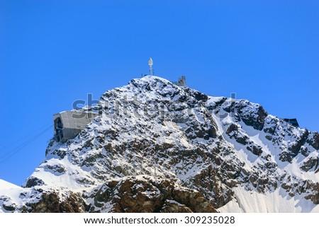 Summit of Klein Matterhorn - Klein Matterhorn - 3,883 above sea level - Switzerland - stock photo