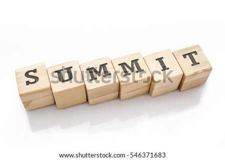 SUMMIT word made with building blocks isolated on white