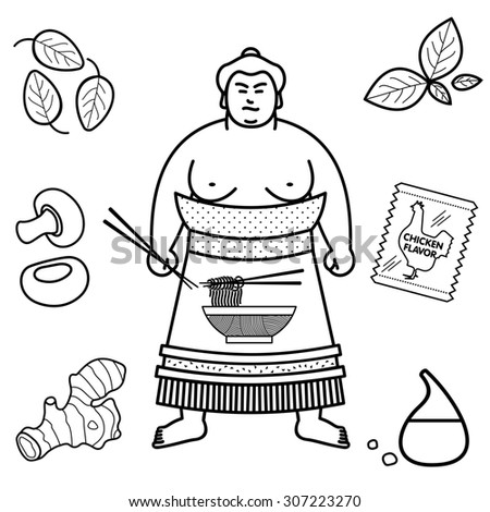 Sumo wrestler in a frame of the ingredients of the Japanese noodle soup - stock photo