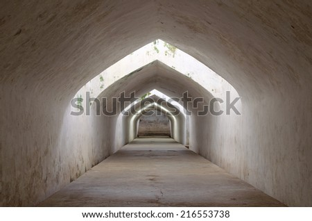 sumur gumantung, the underground walkway tunnel, taman sari water castle - the royal garden of sultanate of jogjakarta - stock photo