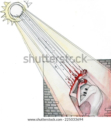 Sun allergy. Wan hiding from the sun behind a stone wall. Watercolor illustration isolated on white background - stock photo