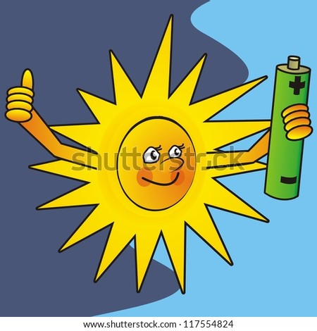 sun and battery - stock photo