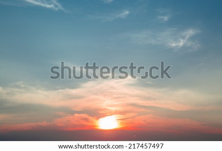 Sun and beautiful sky in sunset time