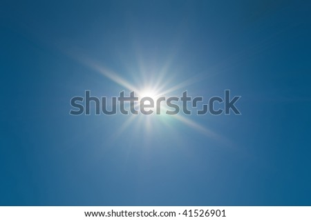 sun and blue sky - stock photo