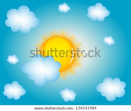 Sun and cloud background  illustration