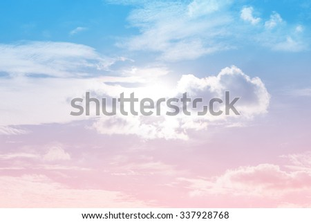 sun and cloud background with a pastel colored - stock photo