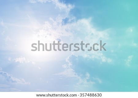 sun and cloud background with a pastel colored. - stock photo