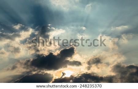 Sun and cloudy sky - stock photo