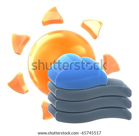 sun heavy fog hires 3 d rendered stock illustration 65745517