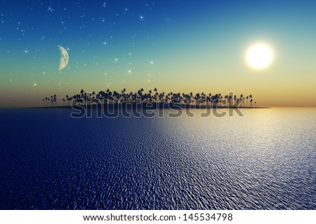 sun and moon behind island with coconut palms. Elements of this image furnished by NASA - stock photo