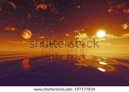 sun and moon behind island with coconut palms red toned image - stock photo