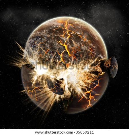 Sun and Planet Explosion - Earth Apocalypse - End of The Time - stock photo
