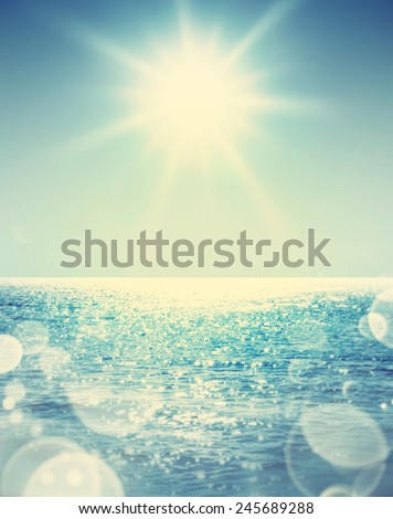 sun and sea. Retro stale. - stock photo