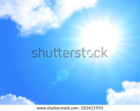 Sun and sky realistic background. Raster Illustration  - stock photo
