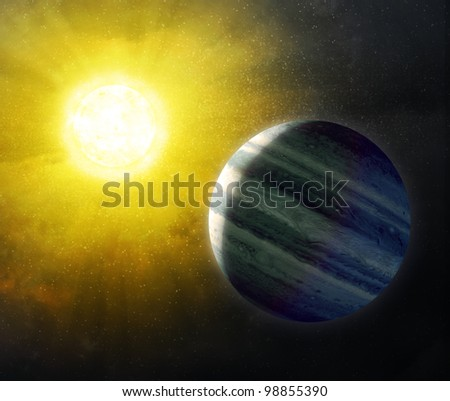 Sun and Star background - stock photo