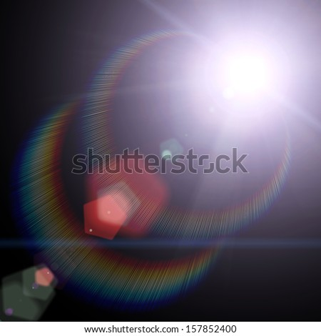 Sun and Sun rays over a black Background - stock photo