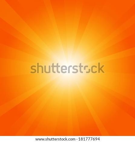Sun background with shining rays. Sunbeams. Sun-rays - stock photo