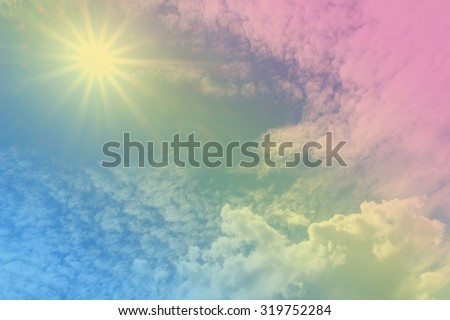 sun beam and sky-clouds background,pastel style - stock photo