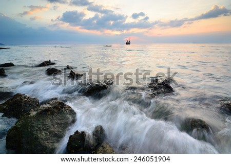 sun beams seascape.  Ko samui, Thailand. - stock photo