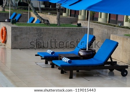 Sun bed in tropical resort