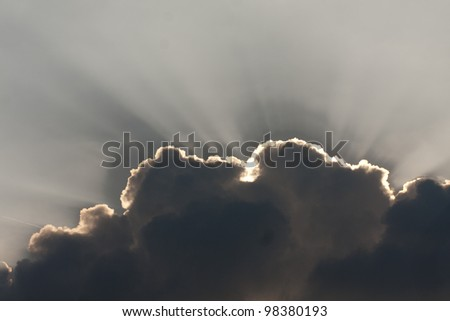 Sun behind cloud