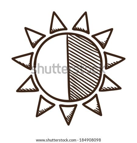 Sun brightness contrast symbol. Isolated sketch icon pictogram.  - stock photo