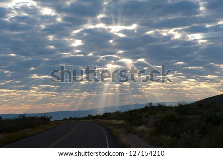 Sun burst in the morning at Big Bend - stock photo