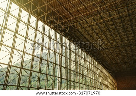 Sun Ceiling and Large window inside Big industrial Building. Abstract Construction - stock photo