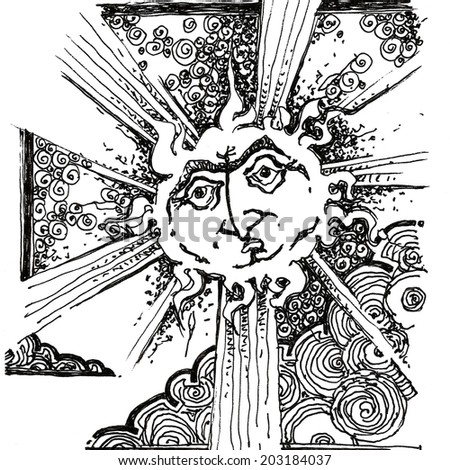 sun character, sunny, warm, sad/Hot Sun/ scan of drawing