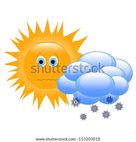 Sun clouds and snow a symbol weather forecast stock photo