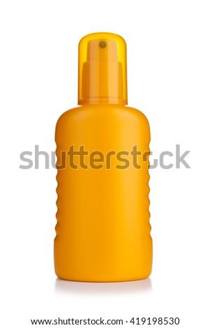 Sun cream isolated on white background - stock photo
