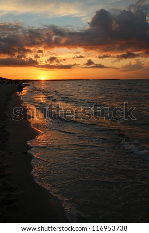 sun down at the Baltic Sea - stock photo